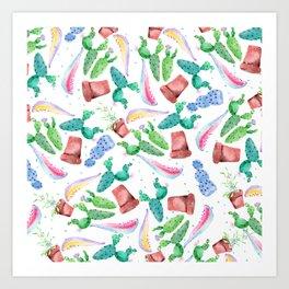 Colorful pink green lilac watercolor cactus Floral Art Print