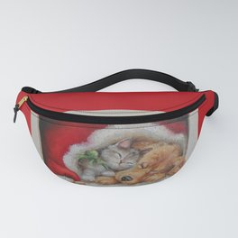 Christmas illustration Cute pets sleeping in the Santa's red hat Fanny Pack