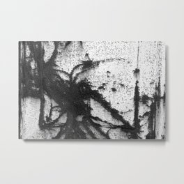 rusty metal spider strange creepy iron pattern creature black white photograph Metal Print
