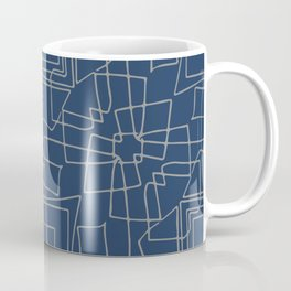 Decorative blue and grey abstract squares Coffee Mug