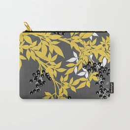 TREE BRANCHES YELLOW GRAY  AND BLACK LEAVES AND BERRIES Carry-All Pouch