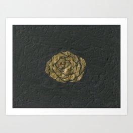 Golden Rose on Textured Canvas Art Print