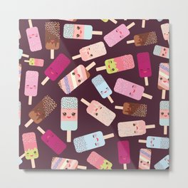 summer ice cream, ice lolly  Kawaii with pink cheeks and winking eyes Metal Print