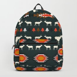 Ethnic deer pattern with Christmas trees Backpack