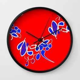 Tile #2 Red-White Line Art on Red Wall Clock