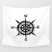 compass Wall Tapestries featuring COMPASS by MrWhite