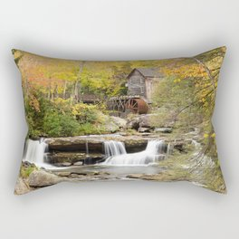 USA water mill Glade Creek Grist Mill, Babcock State Park, West Virginia Autumn Nature Waterfalls Rivers Watermill river Rectangular Pillow