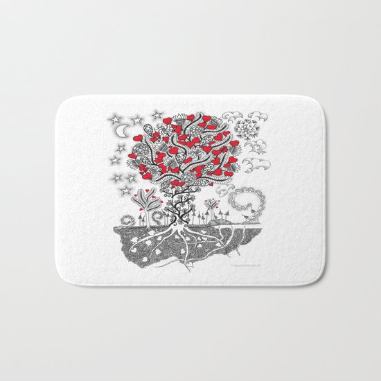 Zentangle Tree of Love - Illustration of Hearts and Love Bath Mat
