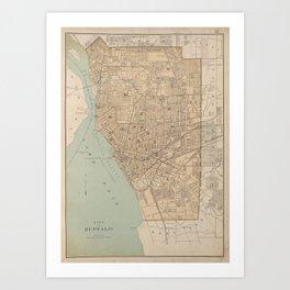 Vintage Map of Buffalo NY (1895) Art Print