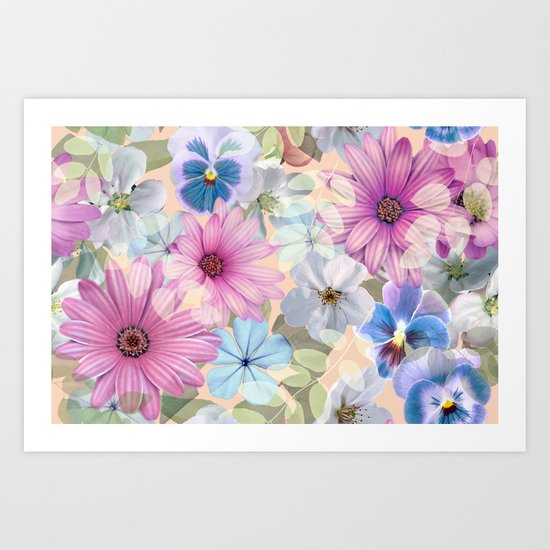 Pink and blue floral pattern Art Print