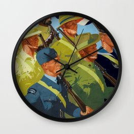 Together - WWII Propaganda Poster Wall Clock