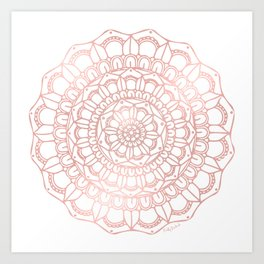 Rose Gold Boho Mandala Art Print
