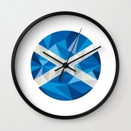 Scotland Flag Icon Circle Low Polygon Wall Clock