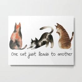 One cat leads to another - watercolor cats and paws pattern Metal Print