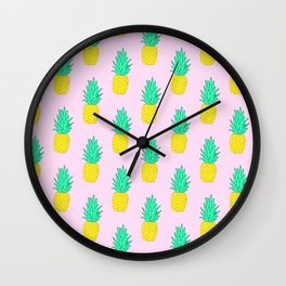 Pineapples on pink #2 Wall Clock
