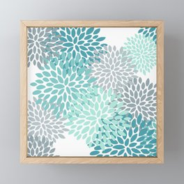 Floral Pattern, Aqua, Teal, Turquoise and Gray Framed Mini Art Print