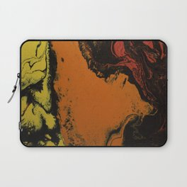 Fluid Art Acrylic Painting, Pour 5, Black, Red, Orange, & Yellow Blended Color Laptop Sleeve