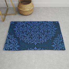 Vintage Blue Paisley Damask Pattern Rug
