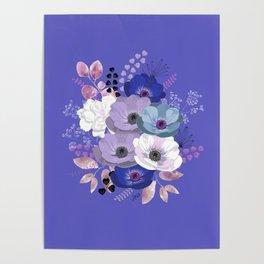 Anemones & Gardenia Blue bouquet Poster