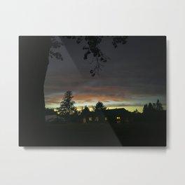 Oregon farm house at sunset Metal Print