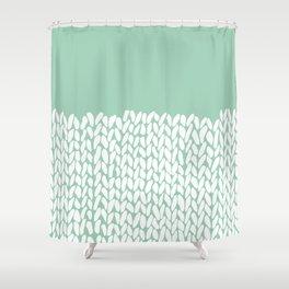 Half Knit Mint Shower Curtain