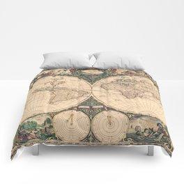 Vintage World Art Map Comforters
