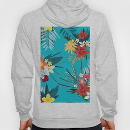 Frangipani, Lily Palm Leaves Tropical Vibrant Colored Trendy Summer Pattern Hoody