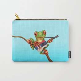 Tree Frog Playing Acoustic Guitar with Flag of Serbia Carry-All Pouch