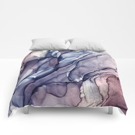 Slate Purple and Sparkle Flowing Abstract Comforters