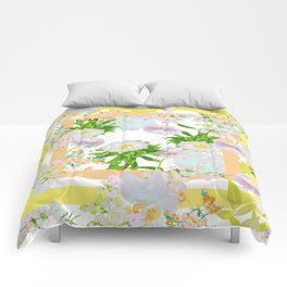 Floral Frame Collage Comforters