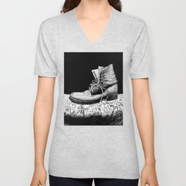 A Worn Out Boot Shows on Display Unisex V-Neck