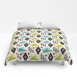 Mid Century Modern Boomerang Abstract Pattern Chartreuse and Turquoise 161 Comforters