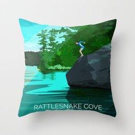 Jumping Rock on Squam Lake Throw Pillow