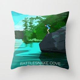 Jumping Rock on Squam Lake Throw Pillow