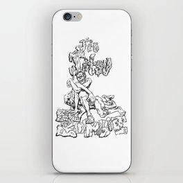 Jiu  Jitsu Zombie goes for an armbar, Black & White Edition iPhone Skin