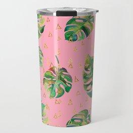 Monstera Gold // Monstera Pattern, Gold Foil Pattern, Lifestyle Digital Collage Pink Travel Mug