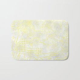 Abstract Overlay-Yellow,Gray and White Bath Mat