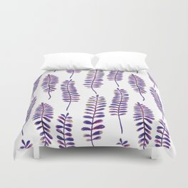 Watercolour Fern Pattern | Purple and Gold Duvet Cover
