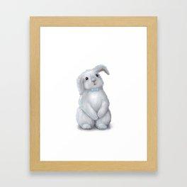 White Rabbit Boy isolated Framed Art Print