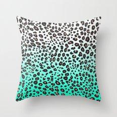 TEAL LEOPARD Throw Pillow