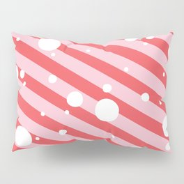 Candy Cane Snow Pink and Red Pillow Sham