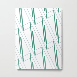 Geometric work - blue and green lines Metal Print