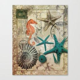 french botanical art seahorse teal green starfish Canvas Print