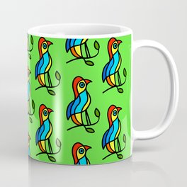 """Color Birds on a Twigs on Light Green Board  """"Paper Drawings/Paintings"""" Coffee Mug"""