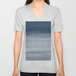 Touching Navy Blue Watercolor Abstract #1 #painting #decor #art #society6 Unisex V-Neck