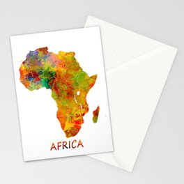 Africa map colored Stationery Cards