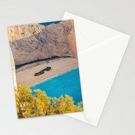 Shipwreck, Zakynthos, Greece coastal aquamarine blue beach photograph Stationery Cards