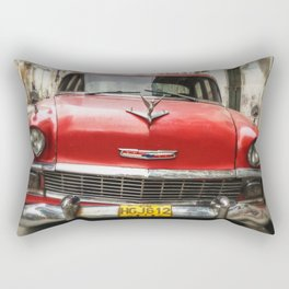 Vintage Red American Car on the Streets of Havana. Rectangular Pillow