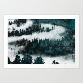 Foggy Forest Fun - Turquoise Mountains Art Print