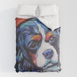 Fun Cavalier King Charles Spaniel Dog bright colorful Pop Art by LEA Comforters